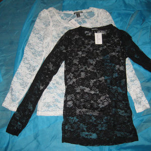 Lot of 2 Long Sleeve Lace Tops
